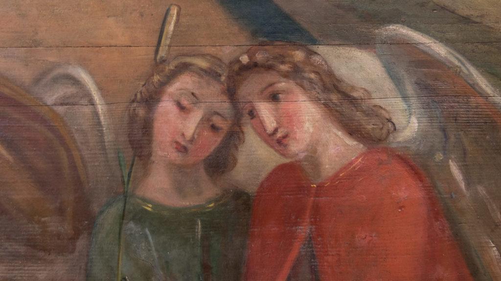 Engel, 1901 auf den Bogen der Frontkulisse gemalt (Ausschnitt) | © Katholische Kirchgemeinde Stadt Zug